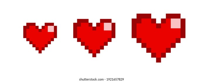 Different hearts collection. Pixel hearts set in pixel style on white background. Health bar retero pixel game concept. Retro game interface. 8 Bit vector illustration of computer game. Vector graphic