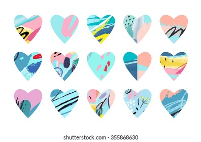 Different hearts on white background. Hand drawn textures.Vector set