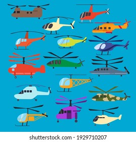 Different helicopters icons set, vector illustration. Military, construction, firefighting, search and rescue, tourism, medical helicopter, isolated on blue sky background