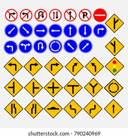 Different highly detailed and fully editable vector Traffic-Road Sign Collection.