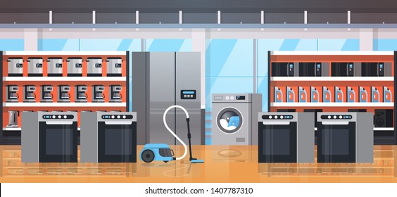different home appliances electric house equipment modern retail store showroom interior flat horizontal