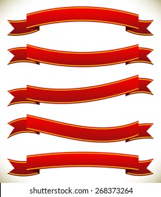 Different horizontal banners in classic red colors