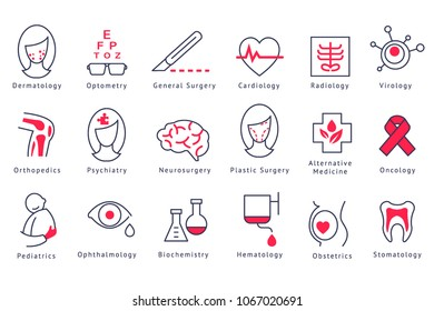 Different hospital department icons set vector Illustrations on a white background