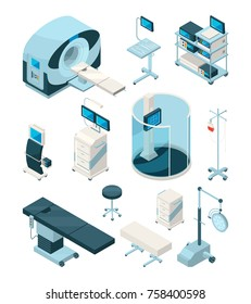Different hospital equipment. Medical tables and other devices. Equipment for hospital, medicine technology, healthcare and monitoring, vector illustration