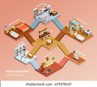 Different hotel rooms design interior with furniture isometric composition vector illustration