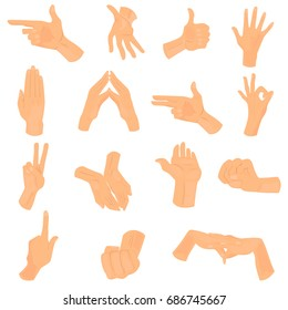 Different human hand positions color icons set for web and mobile design