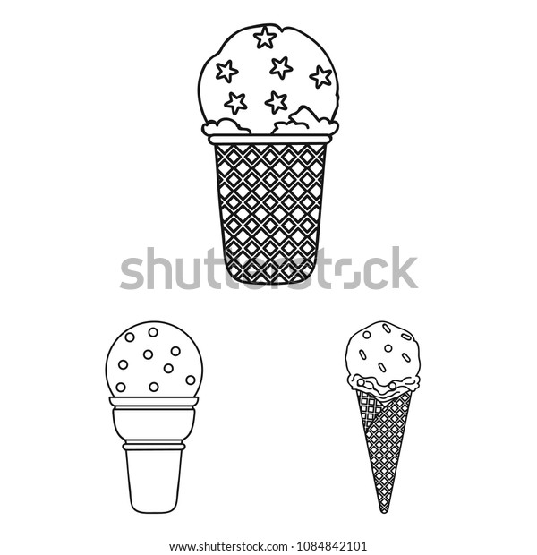 Different ice cream outline icons in set collection for design. Dessert and sweetness vector symbol stock web illustration.