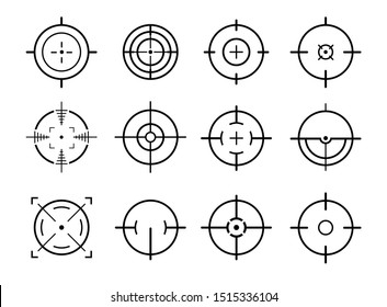 Different icon set of targets and destination. Target and aim, targeting and aiming. Vector illustration for web design. Aim sniper shoot focus cursor bullseye mark.