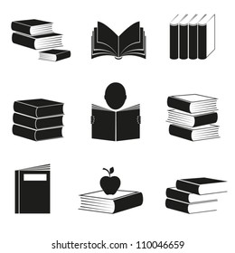 Different icons with books image of black color. EPS-10 (non transparent elements,non gradient)