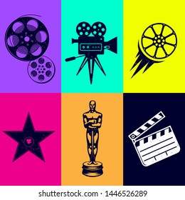 Different icons for movie and production in vintage style. Movie camera, star of fame, Oscar award, bobbins with cine-film, movie clapper.