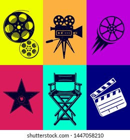 Different icons for movie and production in vintage style. Movie camera, star award, movie clapper, camera, bobbin, cine-film and director armchair.