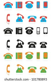 Different icons with phone image for design of a site. EPS-10 (non transparent elements), gradient.