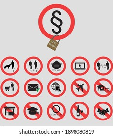 Different icons related to the corona pandemic. It lists prohibitions and mandatory signs that have been decided. Icons for lockdown 2021.