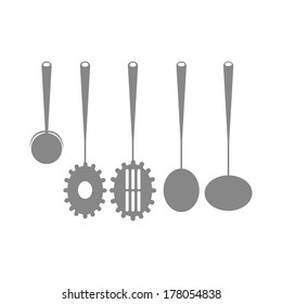 Different Icons Of Silhouettes Of Kitchen Elements Isolated