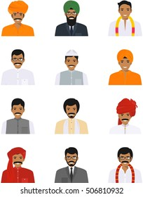 Different indian people characters avatars icons set in flat style isolated on white background. Differences hindu ethnic man smiling faces in traditional clothing. Vector illustration.
