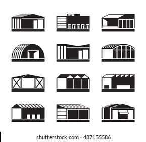 Different Industrial warehouses - vector illustration