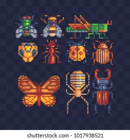 Different insects set. Pixel art 80s style icons. Element design for stickers, logo, embroidery, mobile app. Video game assets sprite sheet. Bug, butterfly,  grasshopper. Isolated vector illustration.