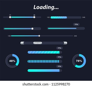 Different interface loaders in dark colors. Vector elements and pictograms collection. Transparent Preloaders. Motion Round Loader