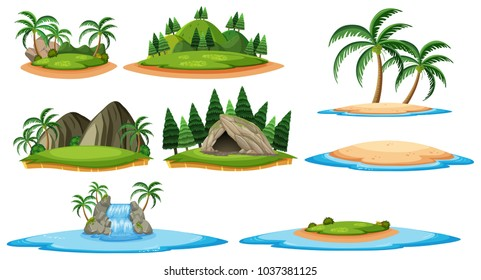 Different islands and forest scenes illustration