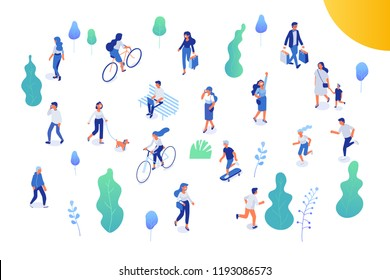 Different isomeric people vector set isolated on white. Male and female have outdoor activity in park. Walking with dog, riding bicycle and skateboard, sitting on bench in park.