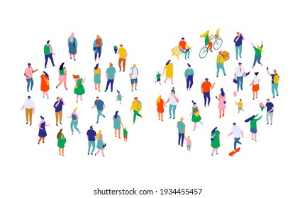 Different isometric cartoon people vector set isolated on white. Male and female have outdoor activity. Trendy colors. No face simple design