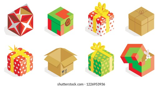 Different Isometric gift boxes with ribbon isolated on white background