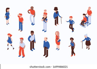 Different isometric people vector set isolated on white. Flat isometric vector.