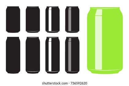 Different iterations of simple vector Soda/Beer Cans.