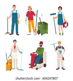 Different janitor set. People with cleaning equipment: window washer, cleaner, sweeper the floor. Man on the washing machine, woman with a broom. Vector illustration in flat style.