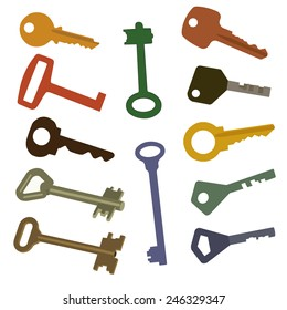 Different keys for opening of locks. Vector