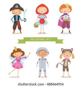 Different kids costumes vector illustration. Children party . Pirate, Red Riding Hood, prince, fairy, astronaut and kitten