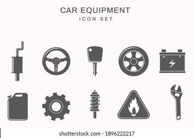 Different kind of Car equipment icons. Flat style vector illustration isolated on white background.
