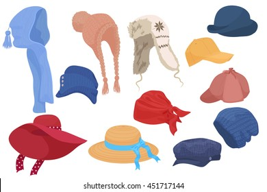 Different kind of cartoon hats set collection isolated.