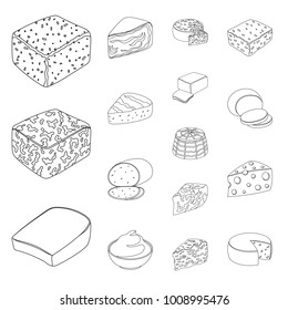 Different kind of cheese outline icons in set collection for design.Milk product cheese vector symbol stock web illustration.