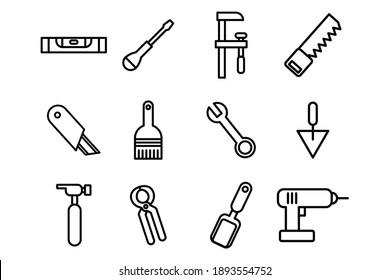 Different kind of construction vector icons. Flat style vector illustration isolated on white background.