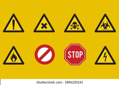 Different kind of danger signs vector icons. Flat style vector illustration isolated on yellow background.