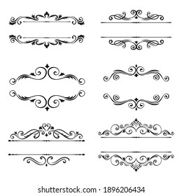 Different kind of Decorative Ornaments Vector icons. Flat style vector illustration isolated on white background.