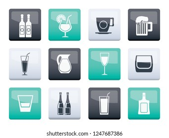 different kind of drink icons over color background - vector icon set