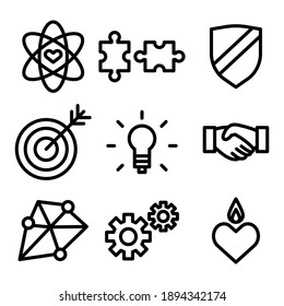 Different kind of ethical icons. Flat style vector illustration isolated on white background.