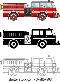 Different kind fire trucks isolated on white background in flat style: colored, black silhouette and contour. Vector illustration. Detailed illustration of fire trucks in a flat style.