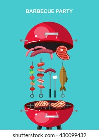 Different kind of meat on the grill illustration. picnic or Bbq party. Food and barbeque, summer and grill