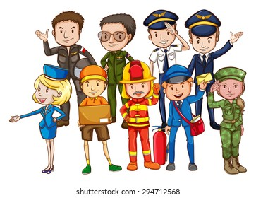 Different kind of occupations with people in uniform