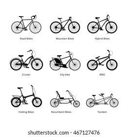 Different kind os bicycles, colour silhouettes set. Vector modern illustration and design element on white background.