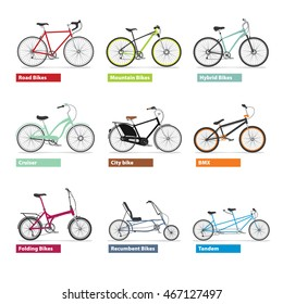 Different kind os bicycles, colour silhouettes set. Vector modern illustrations set and design elements on white background.