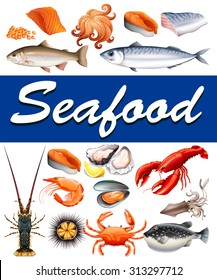 Different kind of seafood and text illustration