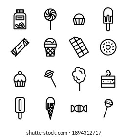 Different kind of sweets and chocolate icons. Flat style vector illustration isolated on white background.