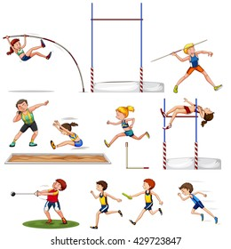Different kind of track and field sports illustration