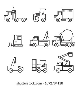 Different kind vector set of construction trucks icons. Flat style vector illustration isolated on white background.