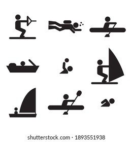 Different kind of water sports icons. Flat style vector illustration isolated on white background.