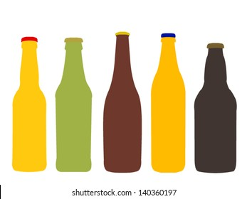 Different Kinds of Beer Bottles Without Labels